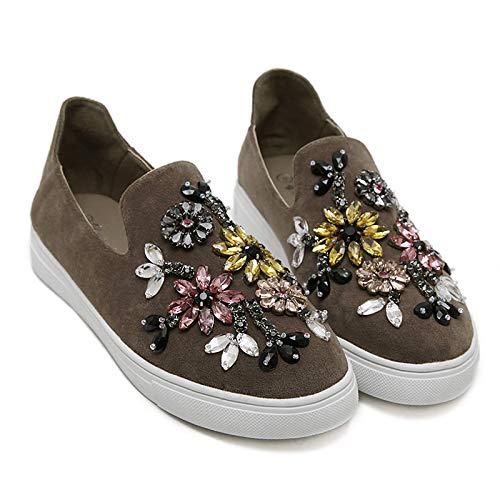 Zapatos Verano Round Sneakers de Terciopelo Primavera Glitter Gray Gris ZHZNVX Color Negro Rhinestone Mujer Comfort Toe Heel Sparkling de de Caqui Flat de y dqwxF8fO