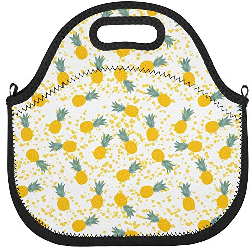 LAOJIU0M Neoprene Lunch Tote Pineapple Lover Natural Fruit Yellow Insulation Lunch Bag Reusable Insulated PortablePrint Adults Kids Mom Package Lunch Holder