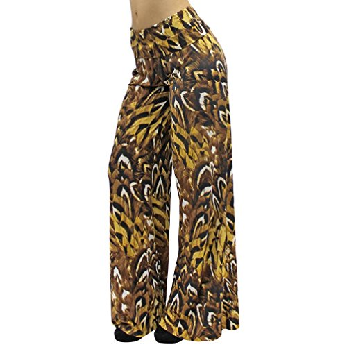 Luxury Divas Textured Animal Print Boho Flare Long Palazzo Pants Size Small (Flare Textured Pants)