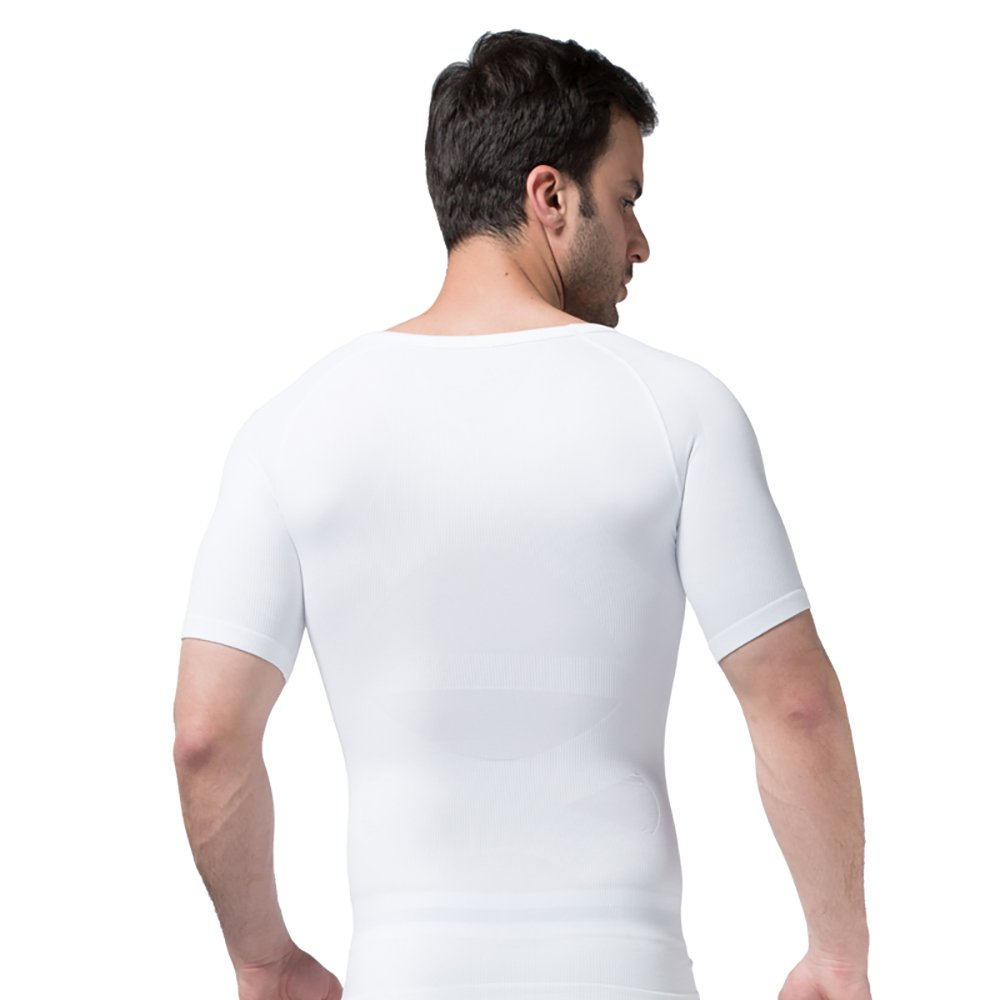 YFFUSHI Mens Comfortable Corset Vest Slim Elastic Body Shaper Short Sleeve Undershirt YD349