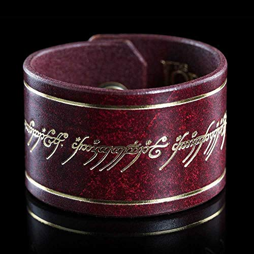 (WETA Collectibles Lord of The Rings Leather Cuff The One Ring Inscription)