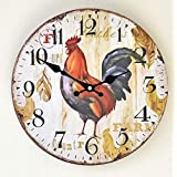 GZD Simple Rustic Style Wall Clock,Retro Color Printing Wooden Cock Pattern Wall Clock Living