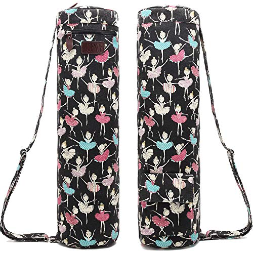 Boence Yoga Mat Bag, Full Zip Exercise Yoga Mat Sling Bag with Sturdy Canvas, Smooth Zippers, Adjustable Strap, Large Functional Storage Pockets - Fits Most Size Mats (Ballet girl)