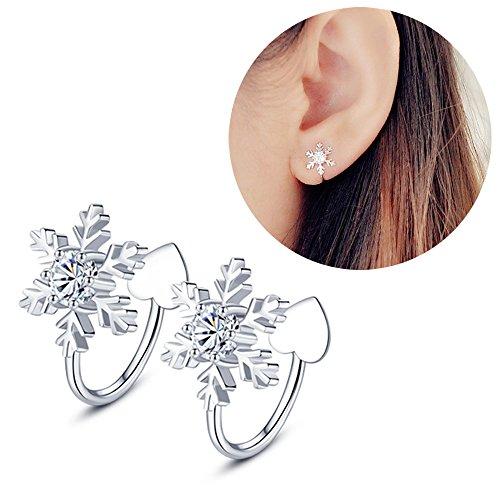 Aifeer 925 Sterling Silver No Piercing Ear Cuffs Cubic Zirconia Snowflake Ear Wrap Clip On Earrings 1 Pair