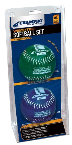 Champro Basic Weighted Training Softball (Blue/Green, 12-Inch)