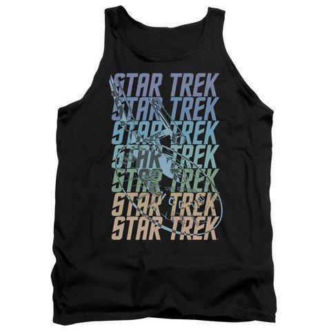 Trevco Star Trek-Multi Logo Enterprise Adult Tank Top Black44; Medium
