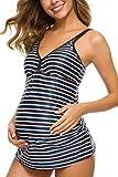 EastElegant Maternity Swimwear/Maternity Two Pieces Swimsuit/Stripes Pregnancy Tankini Set