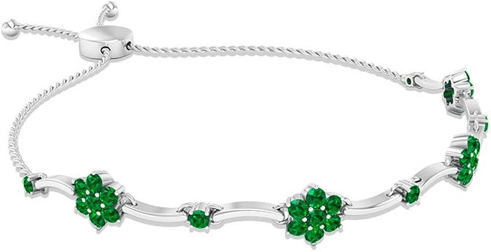 Pulsera redonda de esmeralda floral, pulsera de cadena de gemas, pulsera de tenis de bar, para dama de honor, pulsera apilable con piedra natal