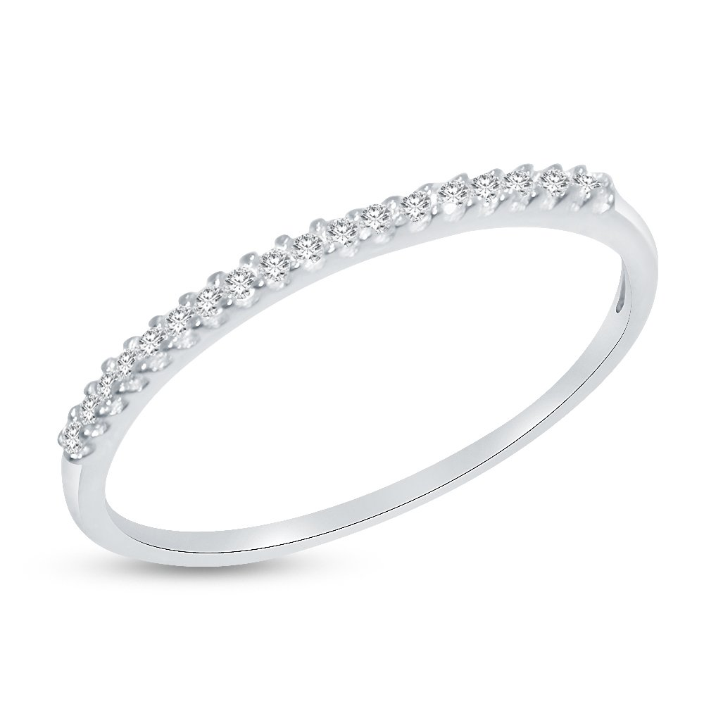Solid 14k White Gold 1.5mm Round Cut Thin Pave Set Anniversary Ring Wedding Band CZ Cubic Zirconia 1//4 cttw.