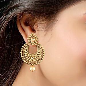 I Jewels Ethnic Gold Plated Chandbali Earrings for Women (E2421FL)