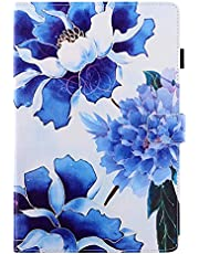 """Miagon Tablet Cover for Samsung Galaxy Tab A 8.0 {8""""} SM-T290/T295,PU Leather Flip Wallet Case with Stand Function Shockproof,Blue Flower"""