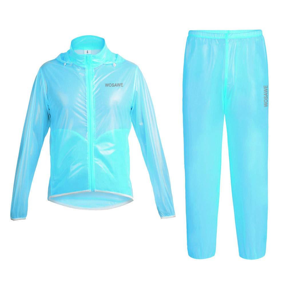 Bleu grand Asdflina Imperméable à l'eau Veste De Pluie, Imperméable à Capuche Poncho Costume Cycle imperméable (Couleur   Noir, Taille   L)