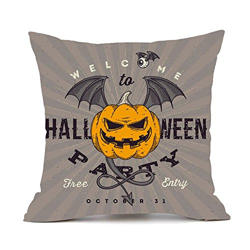 Litetao Happy Halloween Square Decorative Throw Pillow Cases Linen Sofa Cushion Cover Home Decor (F) -