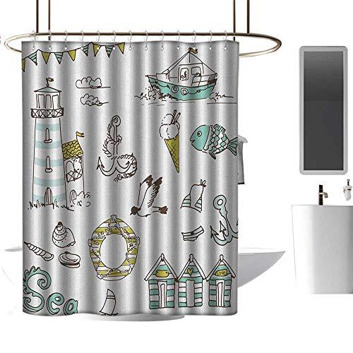 TimBeve Quality Fabric Shower Curtain Nautical,Marine Elements Fish