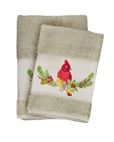 Hummingbird Embroidered Ebru Bath & Hand Towel Set Turkis...