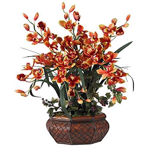 Large Burgundy Cymbidium Silk Flower Arrangement