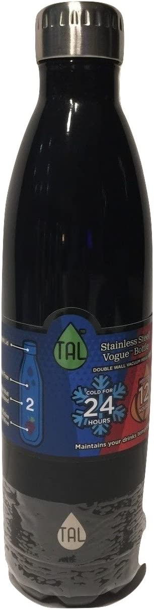 TAL Vogue Double-Wall Vacuum Insulated Stainless Steel Bottle 48+ Hours Cold Performance (Black, 25 oz)