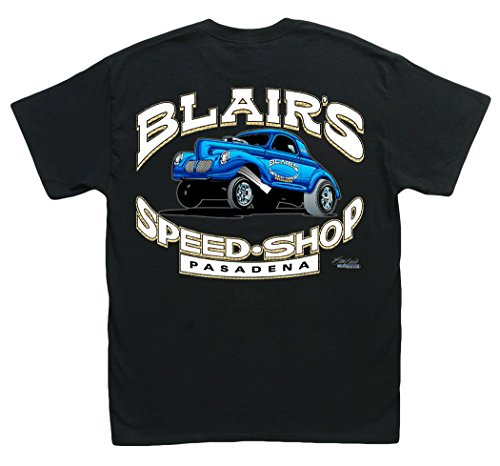 Blair's Speed Shop Black T-Shirt: XXL - 1940 1941 Willys Gasser Vintage Hot Rod