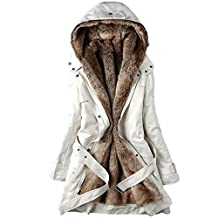 Newbestyle Women Winter Slim Thicken Lamb Wool Hooded Parka Jacket With Belt