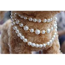 3 Sizes Handmade Cat Dog Necklace Jewelry 3 Layers with Bling Pearls Gorgeous for Pets Cats Puppy Dogs Puppy Chihuahua Yorkie Girl Costume Outfits, Adjustable Dog Collar (L)