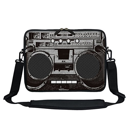 Price comparison product image Meffort Inc 11.6 Inch Neoprene Laptop / Ultrabook / Chromebook Bag Carrying Sleeve with Hidden Handle and Adjustable Shoulder Strap (Cassette Player)