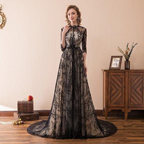 Robes De Mariée Gothique Dentelle Noire De Train Demi-manches Des Femmes Dreamdress