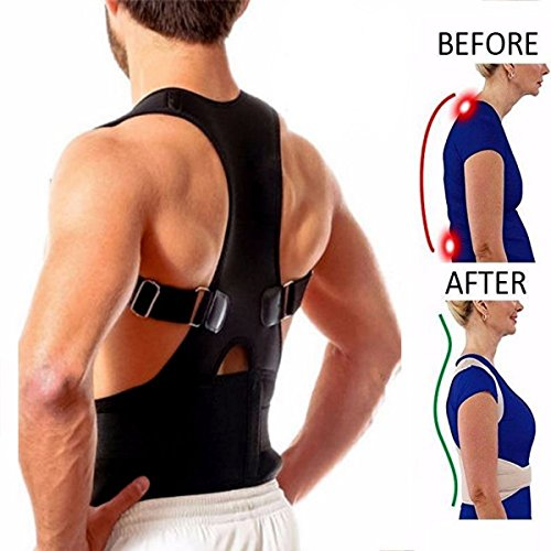 Magnetic Therapy Posture Corrector Body Back Pain Belt Brace Shoulder Support (L) by Yannuo