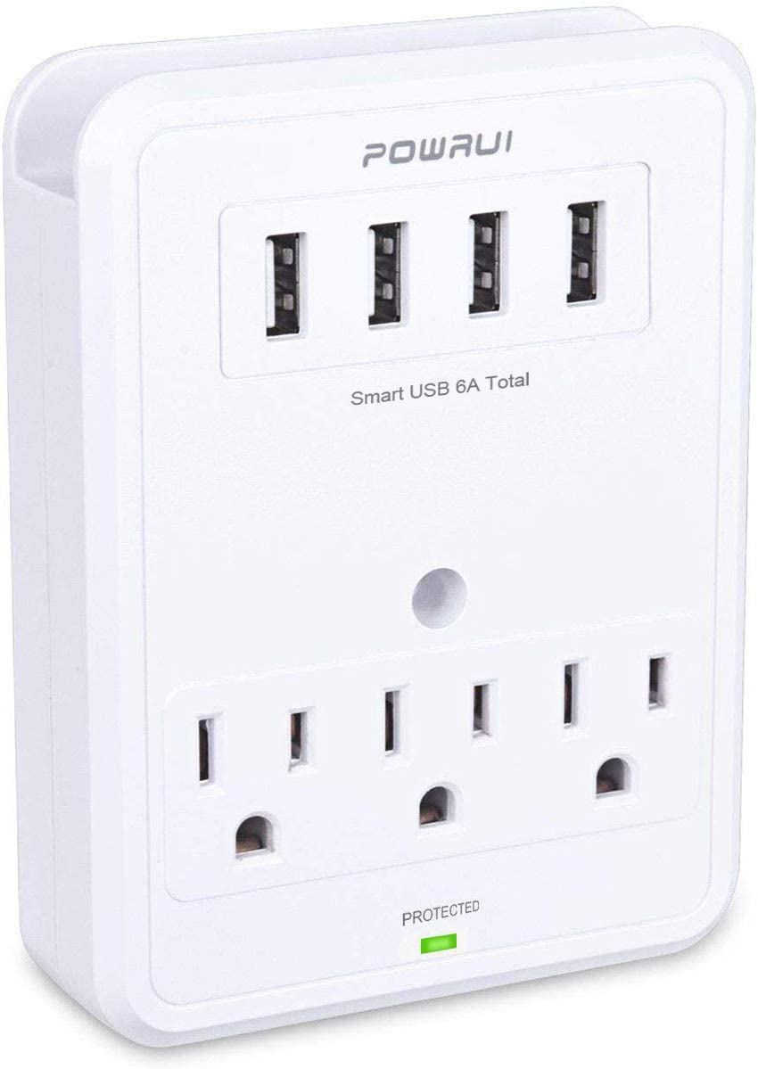 USB Wall Charger, Surge Protector, POWRUI 3 Outlet Wall Mount Adapter with 4 USB Ports Charging Station (30W) Compatible iPhone Xs/XS Max/XR/X/8/7/6/Plus, Pro/Air 2/Mini 3/Mini 4, Samsung S4/S5, 6A
