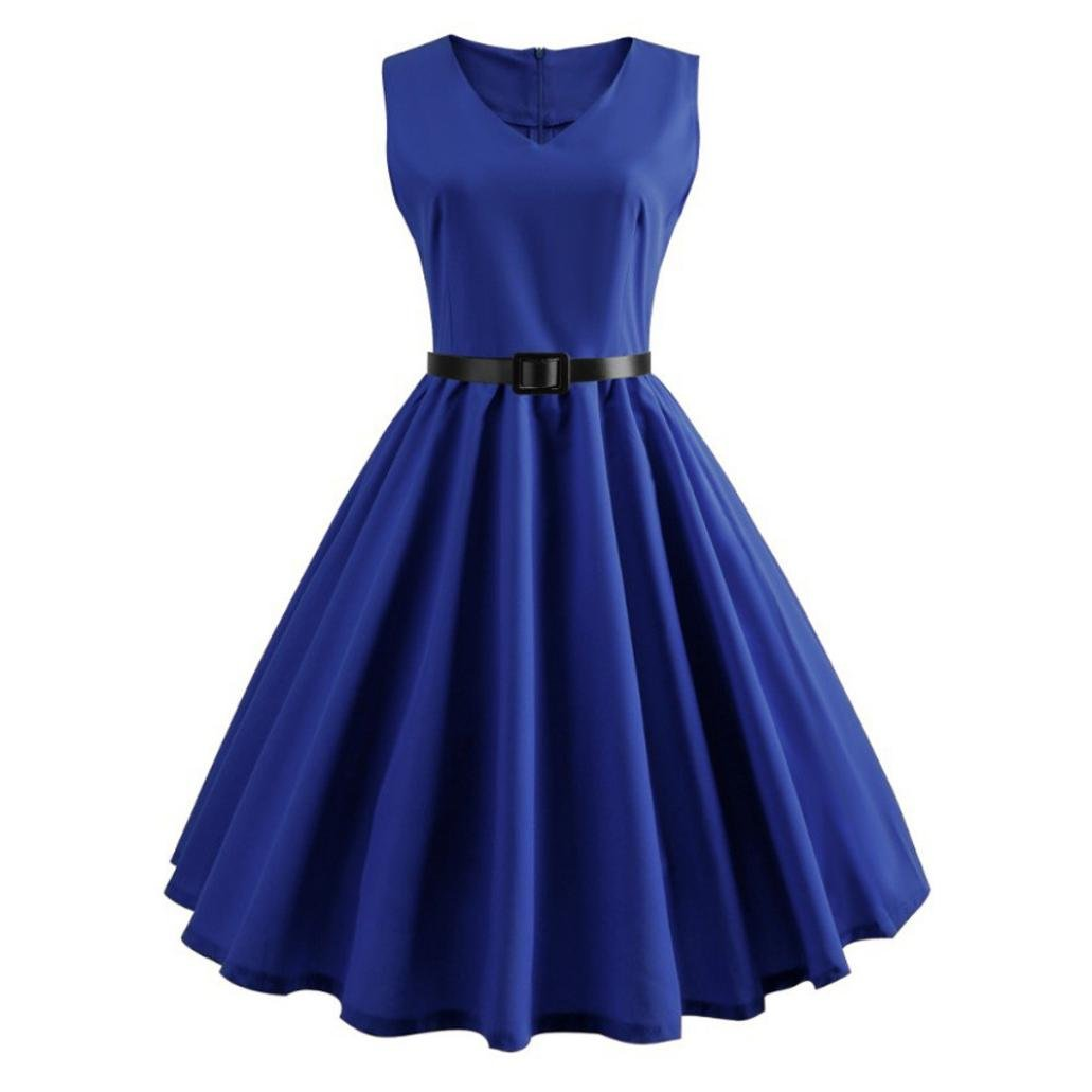 Veepola Women Dress,Lady Girl Vintage Sleeveless Evening Party Prom Swing Dress,3 Colors (Blue, L)