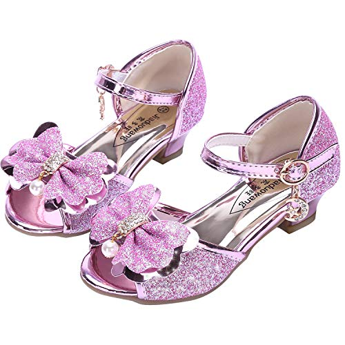 Osinnme Flower High Heel Shoes for Girls Wedding Princess Size 10 M Little Girl Pink Toddler Kids Glitter Dress Rhinestone Sandals Knot (Pink 27)]()