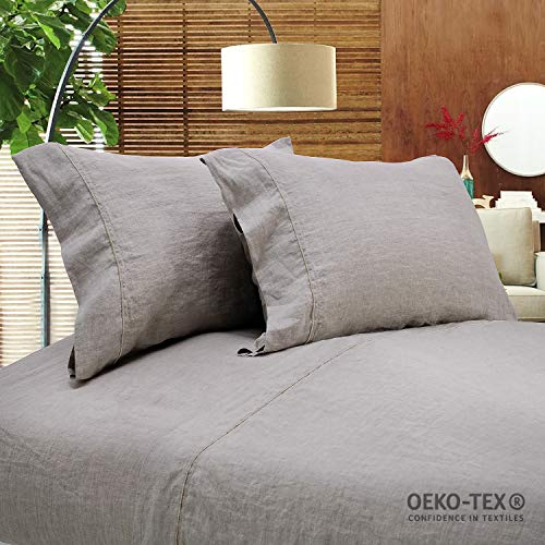 Simple&Opulence 100% Stone Washed Linen Embroidered Thread Solid 2 Pillowcase (Standard, - King Sham Linen