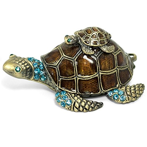 Welforth Turtle on Turtle Jewelry Box w/ (Turtle Hinged Trinket Box)
