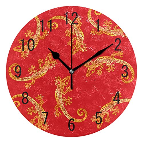 ALAZA Home Decor Cartoon Gold Gecko Red Round Acrylic Wall Clock Non Ticking Silent Clock Art for Living Room Kitchen Bedroom