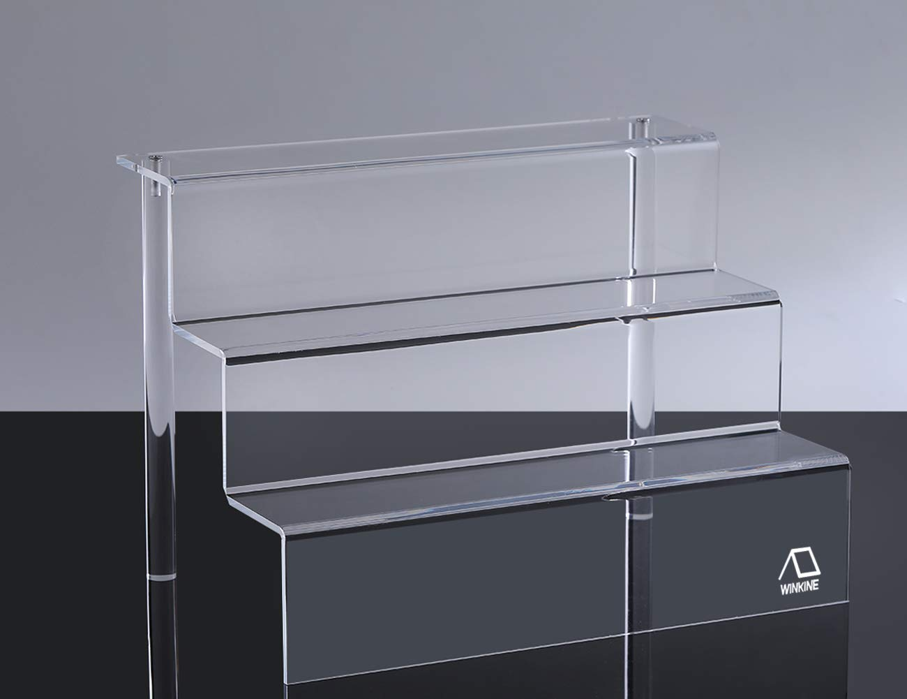 WINKINE 2 Pack Clear Acrylic Riser Display Shelf for Amiibo Funko POP Figures, 3-Tier Cupcakes Stand for Cabinet, Countertops, Table, Large(9x12 inch)