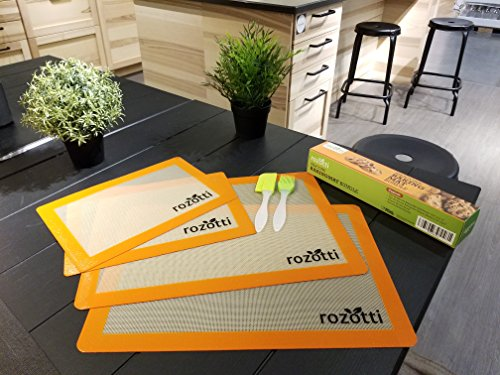 Rozotti Silicone Baking Mat Bundle (6-Piece Set) 2 Half Sheets Silicone Baking Mat and 2 Quarter Sheets Silicone Baking Mat, Silicone Baking Brush, Silicone Baking Spatula | Non-Stick, Heat-Resistant 8 SILICONE BAKING MAT Bundle - Complete Cooking & Baking Set. This multipurpose cookware bundle comes with two half and two quarter-sized silicone cooking sheets, a silicone cleaning brush, and a silicone spatula; everything you need to prep, cook, serve, and enjoy! SILICONE BAKING MAT - Smarter, Healthier Cooking. Silicone is not only more flexible, durable, and longer-lasting, it's non-stick, which means you can cook without adding fat, butter or oils. This ensures healthier, more delicious meals great for the whole family. Food-Grade Safe Silicone - Each silicone baking sheet and utensil is non-stick, ecofriendly, BPA free and completely reusable. The mats are also FDA and LFGB certified to ensure high-quality support you can trust with every meal.
