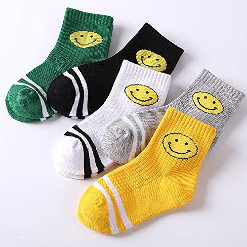 Yifen Girls Boys Smile Face Embellished Cotton Rich Crew Socks Kids School Socks Sports Socks 5Pack