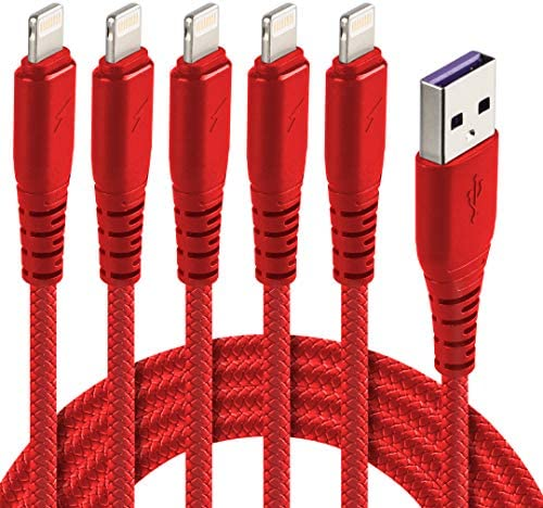 5Pack 10ft Red Lightning Cable,iPhone Chargers to USB A Charging Cable Compatible with iPhone 11 Xs Max XR X 8 Plus 7 Plus 6 Plus