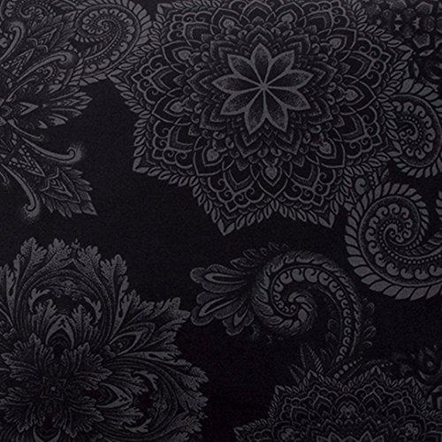 Sin in Linen Midnight Ink Duvet Cover, Mandala Tattoo Bedding in Charcoal Gray