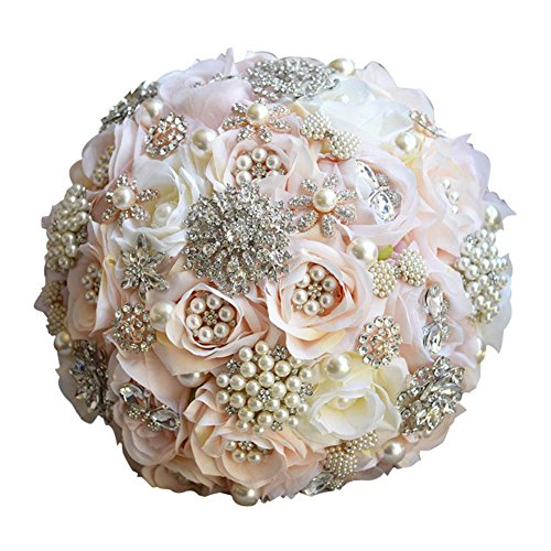 Clear Fayer Luxury Rhinestone Covered Wedding Bridal Flower - Crystal Pearls and Jewels Decorated Rose Bouquet in Champagne Blush