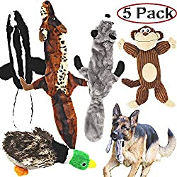 Jalousie 5 Pack Dog Squeaky Toys Three no Stuffing Toy Two Plush Stuffing Small Medium Large Dog Pets