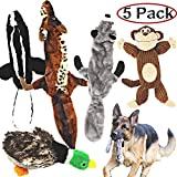 Jalousie 5 Pack Dog Squeaky Toys Three no Stuffing Toy and Two Plush with Stuffing for Small Medium Large Dog Pets (5 Pack)