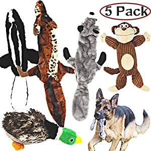Jalousie 5 Pack Dog Squeaky Toys Three no Stuffing Toy and Two Plush with Stuffing for Small Medium Large Dog Pets 5