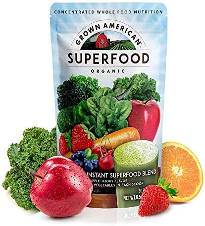 Grown American Superfood 31 Organic Whole Fruits and Vegetables Concentrated Green Powder Increase Energy and Performance Packed with Antioxidants 100% Certified Organic and Vegan Non-GMO