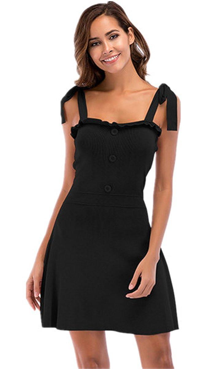 HAOKTY Damen Elegant Vintage Bodycon Stricken Kleider Festliches Ärmellos Partykleid Cocktailkleid Sommerkleid Knielang
