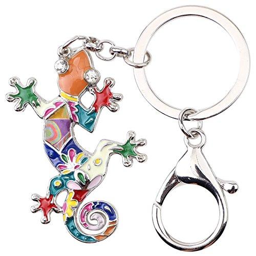 BONSNY Enamel Metal Gecko Lizard Key Chains Rings Gift For Women Girl Car Purse bag Rings Charms (Multicolor) ()