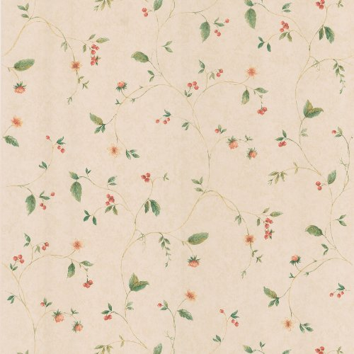 Brewster 418-59300 Belladonna Beige Berry and Floral Trail Wallpaper, Beige