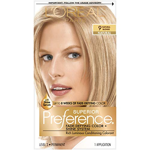 (L'Oréal Paris Superior Preference Fade-Defying + Shine Permanent Hair Color, 9 Natural Blonde, 1 kit Hair Dye)