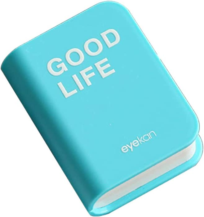 Demarkt Caja de Lentes de Contacto Kit de Viaje Caja Portatil Viaje para Lentes de Contacto Forma de Libro Caja de Lentes de Contacto pequeña y Linda Belleza Mate Caja Moda Cuidado Azul Claro