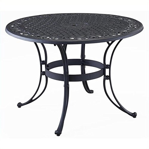 Outdoor Round Bench (Home Styles 5554-30 Biscayne Round Outdoor Dining Table, Black Finish, 42-Inch)