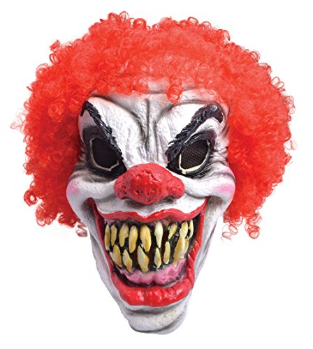 Bristol Novelty BM461 Horror Clown Mask with Red Hair, One Size ()